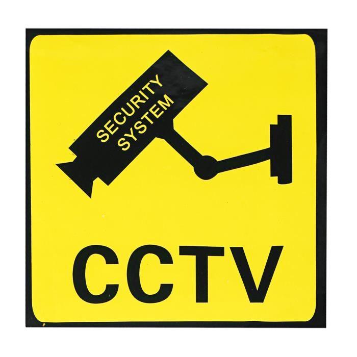 110X110mm Sticker étiquette Autocollant CCTV caméra Surveillance Panneau d'avertissement Moniteur de système de sécurité