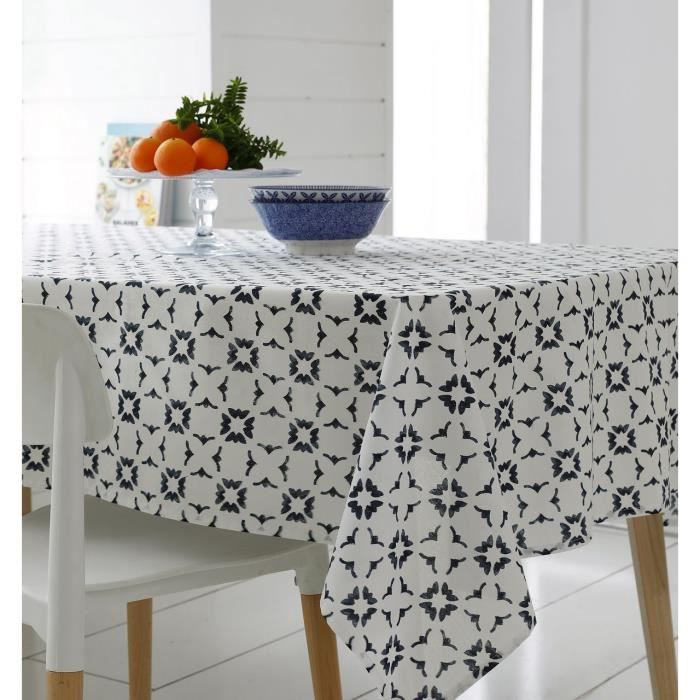 Nappe Belem coton motifs géométriques bleu ovale 170x240 - Tradilinge