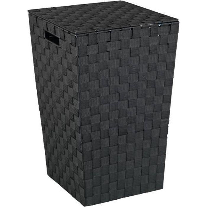Panier à linge Adria, panier à linge plastique noir, design carré