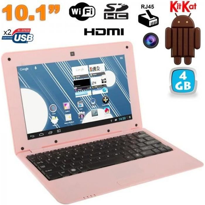 Mini PC Android netbook 10 pouces WiFi 4 Go Rose
