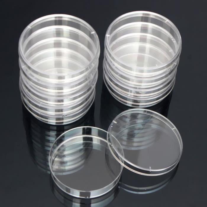 PT00982-10pcs Bactéries Disque Culture Dish Jetable Stérilisé Boîte de Petri Lab 55x15mm