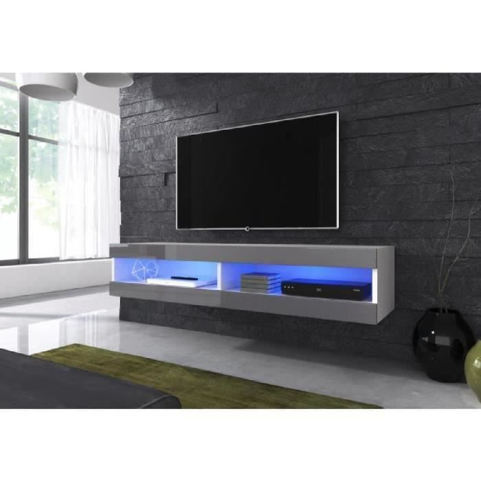 meuble tv flottant volanti 150 cm avec led corps mat noir gris haute brillant avant achat. Black Bedroom Furniture Sets. Home Design Ideas