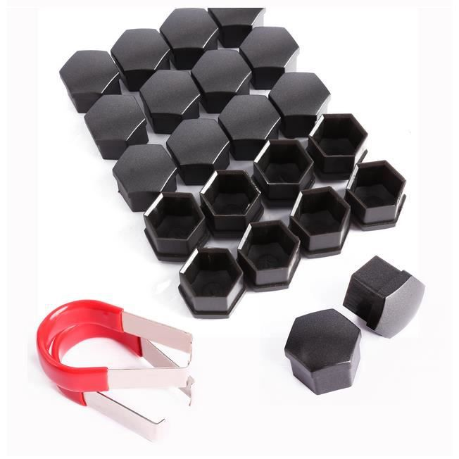 20x cache ecrou capuchon taille 17mm vis boulon pour roue vw audi skoda noir achat vente. Black Bedroom Furniture Sets. Home Design Ideas