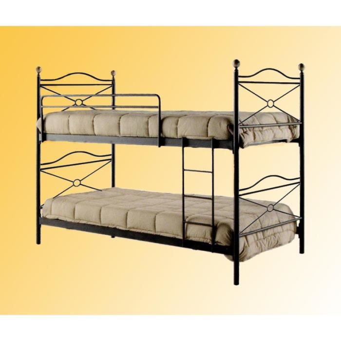 lit superpos en fer. Black Bedroom Furniture Sets. Home Design Ideas
