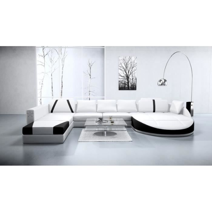 canap d 39 angle cuir panoramique noir et blanc achat. Black Bedroom Furniture Sets. Home Design Ideas