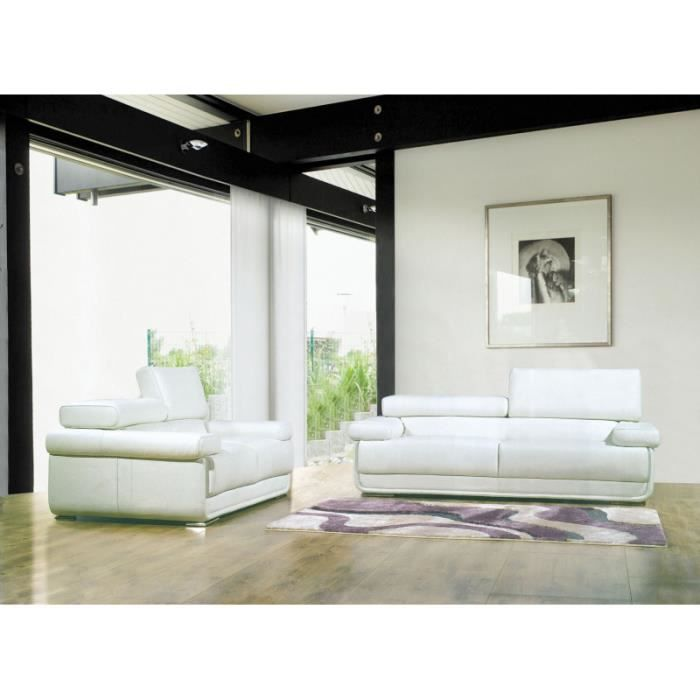 canap 3 places blanc moderne cuir blanc achat vente canap sofa divan cuir bois. Black Bedroom Furniture Sets. Home Design Ideas