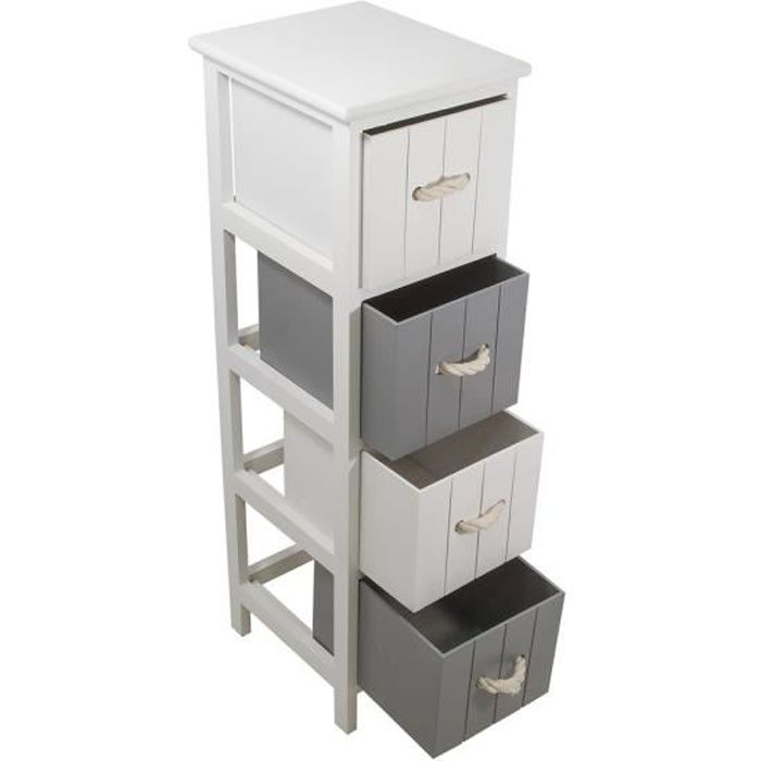 jersey meuble de salle de bain l 25 cm blanc et gris achat vente colonne armoire wc. Black Bedroom Furniture Sets. Home Design Ideas