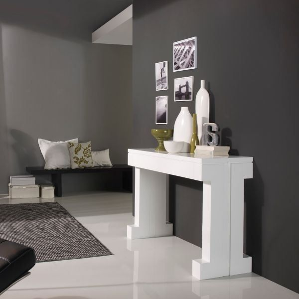 console transformable en table laqu blanc kako 12 achat vente console console transformable. Black Bedroom Furniture Sets. Home Design Ideas