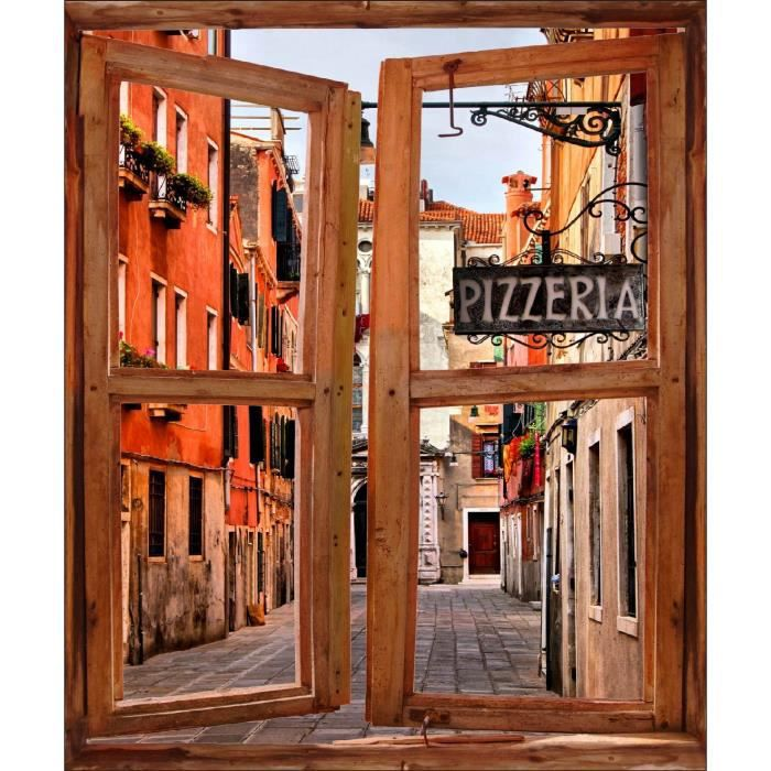 sticker mural fen tre trompe l oeil d co village italie. Black Bedroom Furniture Sets. Home Design Ideas
