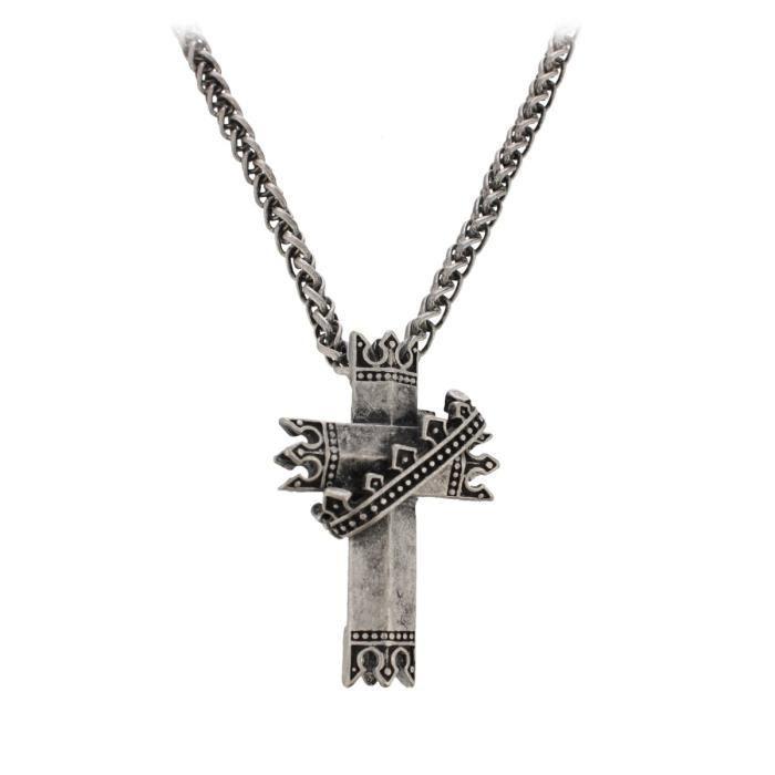 PENDENTIF VENDU SEUL Pendentif argenté en forme de croix, dotée d'une c