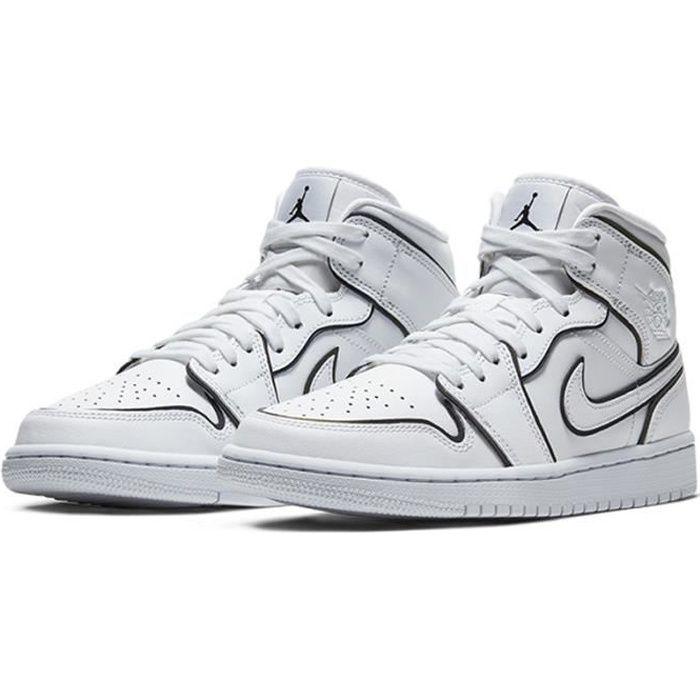 Airs Jordans 1 Mid SE WMNS Femme Chaussures de Basket Airs Jordans One AJ1  Pas Cher pour Homme Blanc et Noir