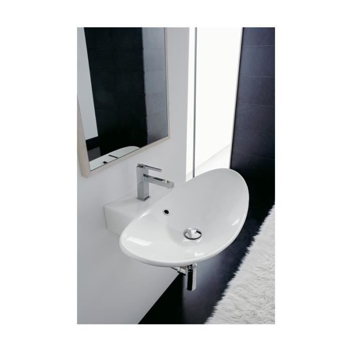 Zefiro vasque lavabo poser ou suspendu 68r d cor travertin blanc 68 x 50 cm achat vente for Vasque a poser travertin