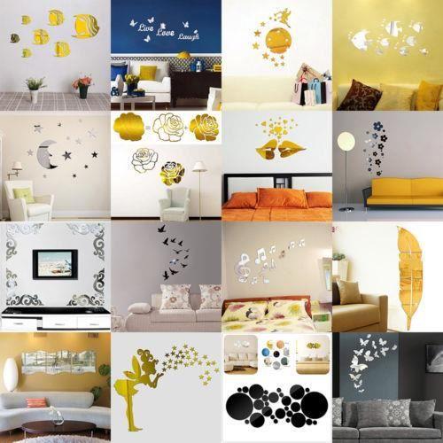Mode Argent Acrylique 3d Effet Miroir Stickers Muraux Autocollants Vinyle