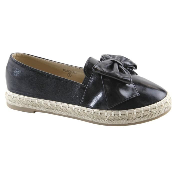 Bella Marie Closed Toe Slip-on Bow Woven Espadrille Loafer Flat YHA71 Taille-38