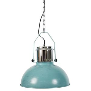 Lustre - suspension Tristan - Indus ? 37,5 cm en metal bicolore chrome/vert vielli chaine et cordon noir