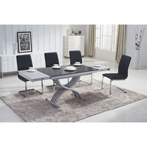 TABLE BASSE TABLE BASSE RELEVABLE BLANCHE 2 ALLONGES NOIR/GRIS