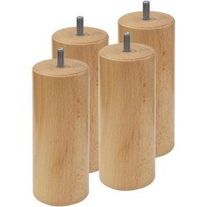 Wood Select Lot 4 Pieds Lit 30 cm Diam 70 mm Plusieurs Type de Fixation Grosse Tige M10 Courte 2.5 cm