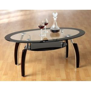 table basse ovale en verre transparente et noir achat vente table basse table basse ovale. Black Bedroom Furniture Sets. Home Design Ideas