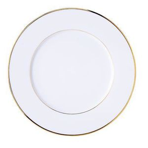assiette plate 27 cm porcelaine blanche filet or sous mail classic filet or lot de 6 achat. Black Bedroom Furniture Sets. Home Design Ideas