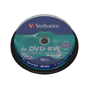 CD - DVD VIERGE Verbatim DataLifePlus 10 x DVD-RW 4.7 Go 4x argent