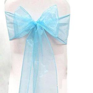 COUSSIN DE CHAISE  Lot 25 Noeuds Chaise Organza Bleu claire Baptême D