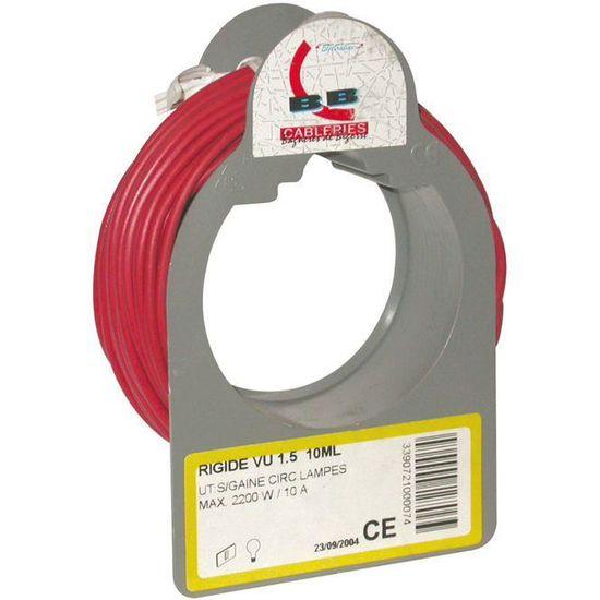 BOBINOT CABLE RIGIDE 10M HO7V-U 1,5mm/² ROUGE