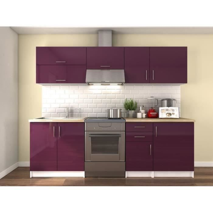 obi cuisine compl te l 2m40 aubergine laqu achat vente cuisine compl te obi cuisine. Black Bedroom Furniture Sets. Home Design Ideas