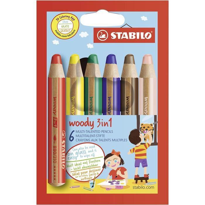 Loisirs Créatifs Crayon de coloriage - STABILO woody 3in1 - Étui carton de 6 crayons de couleur 19
