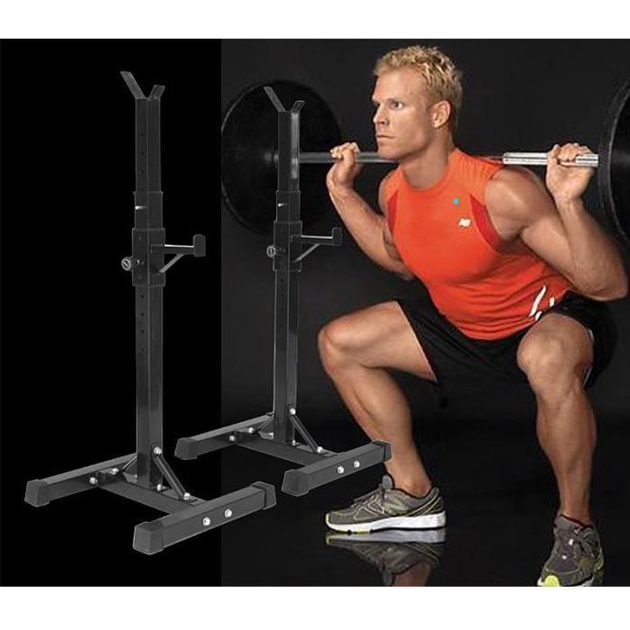 QIHEIYA Support de Musculation rack squat réglable en Hauteur 105-160cm pour haltères