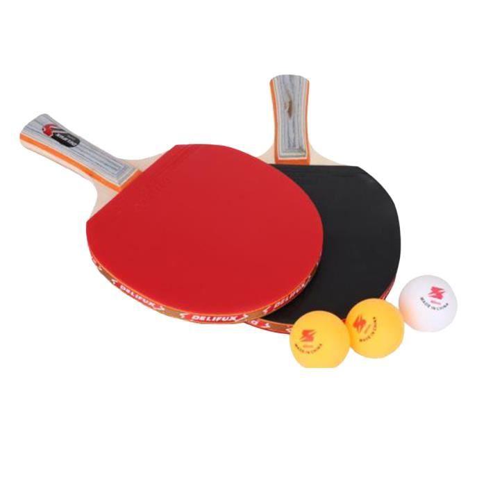 Kit de Ping Pong Raquettes de Tennis de Table Ping Pong (2 Raquettes +3 Balles)