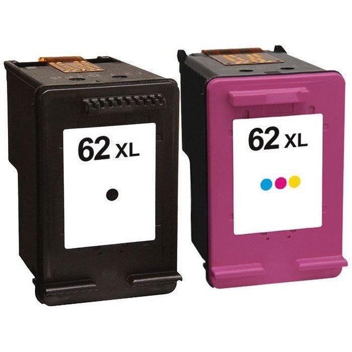Packs 2 cartouches pour HP 62XL Noire et Couleur Compatible Envy 5540