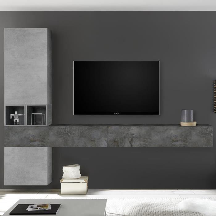 Meuble TV mural design gris ORIAGO Gris L 275 x P 30 x H 220 cm