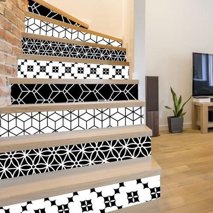 Adhesif contremarche lot de 4 - GUSTO NOIR - Adhesif pour escalier - Dimensions 1m x 17 cm