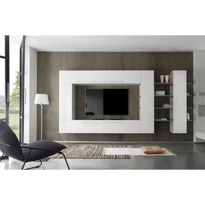 Ensemble meuble TV blanc laqué et chêne gris contemporain FILIPA L 342 x P 36 x H 191 cm Blanc