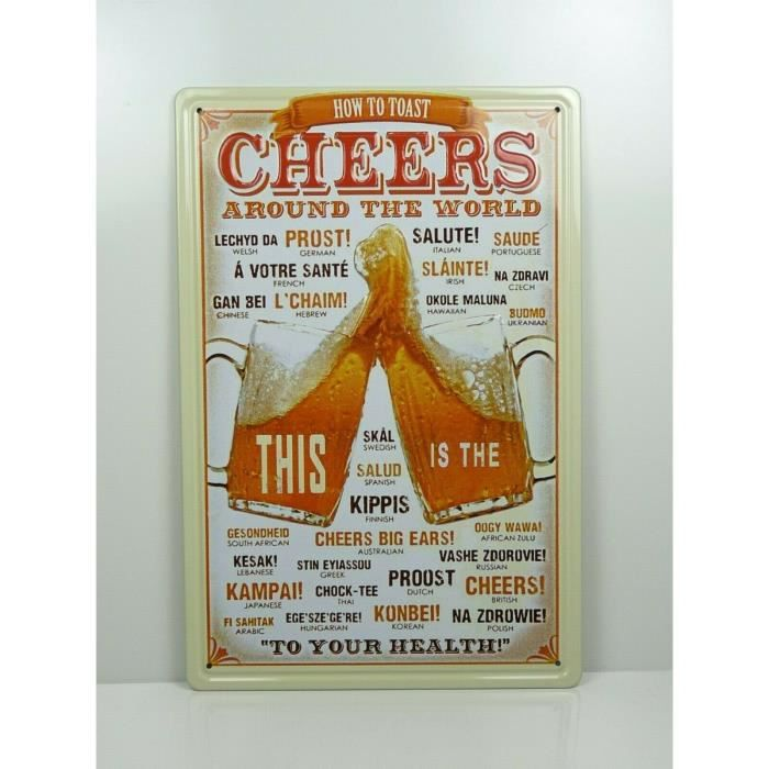 PA40 PLAQUES TOLEE vintage 20 X 30 cm : How to Toast - Cheers Around the World