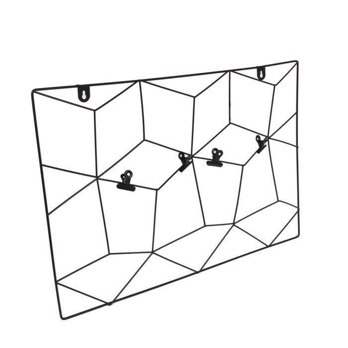 THE HOME DECO FACTORY Pêle-mêle filaire - Zigzag - 4 Pinces - 36X55cm - Noir
