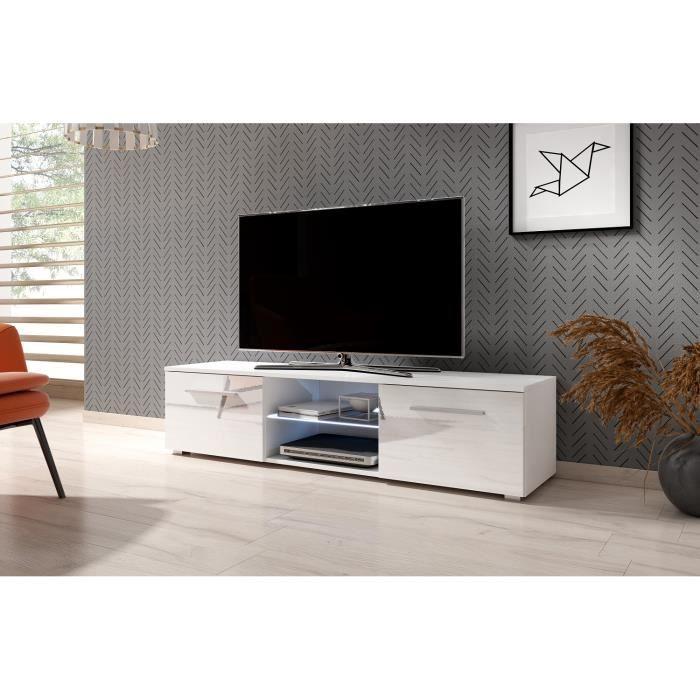 3xeLivingMeuble TV moderniste Punes blanc / blanc brillant 140 cm LED