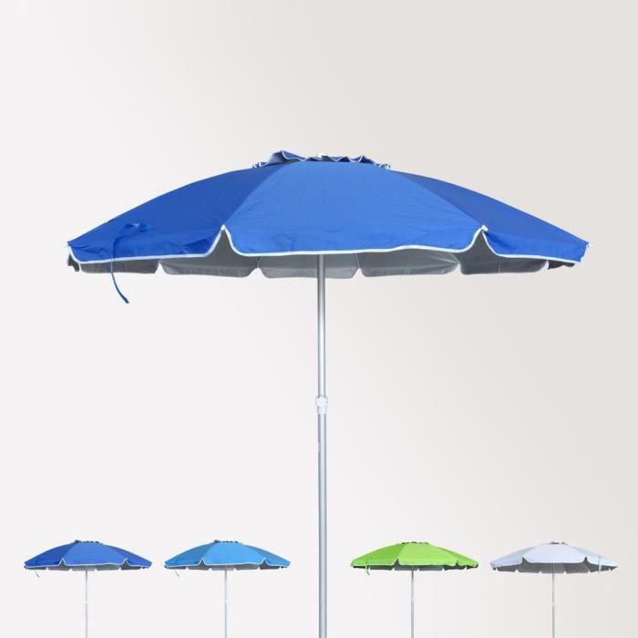 Parasol de plage 220 cm aluminium antivent protection uv ROMA - Couleur:Bleu