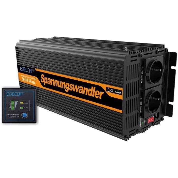 Convertissuer 2000w onduleur 12v 220v transformateur de tension 12v 220v avec télécommande A16
