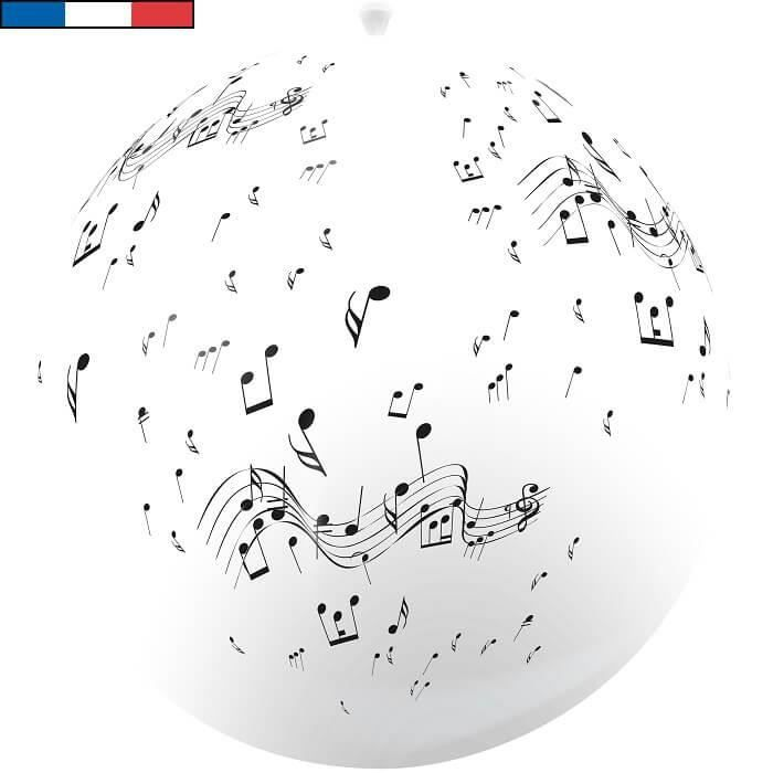 Ballon géant français musique blanc en latex 1m (x1) R/15195
