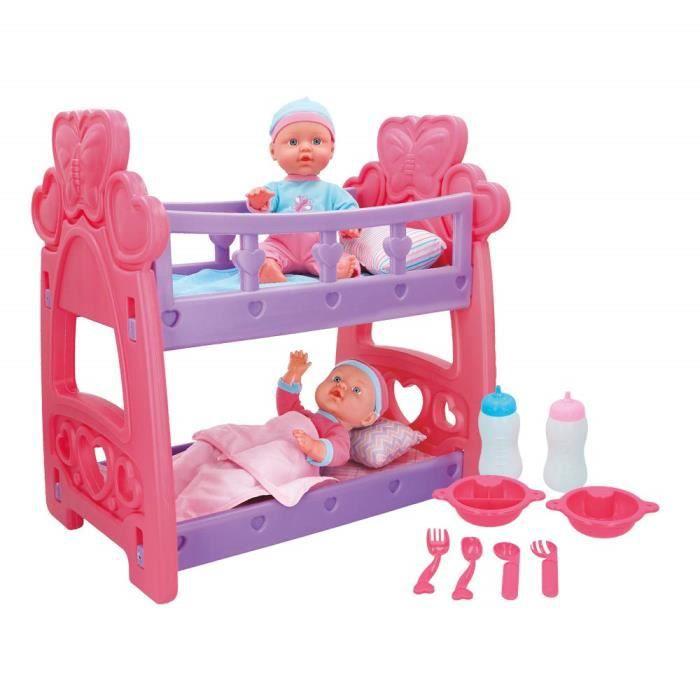 COLORBABY Set bébés Jumeaux avec Berceau et Accessoires Multicolore () - 43707