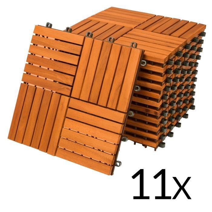 11x Dalles de terrasse en bois d'acacia pour 1m² - 30x30cm - Fixation par Clips - Terrasse - Balcon - Jardin - Piscine