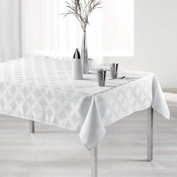CDaffaires Nappe rectangle 140 x 300 cm jacquard tivolina Blanc