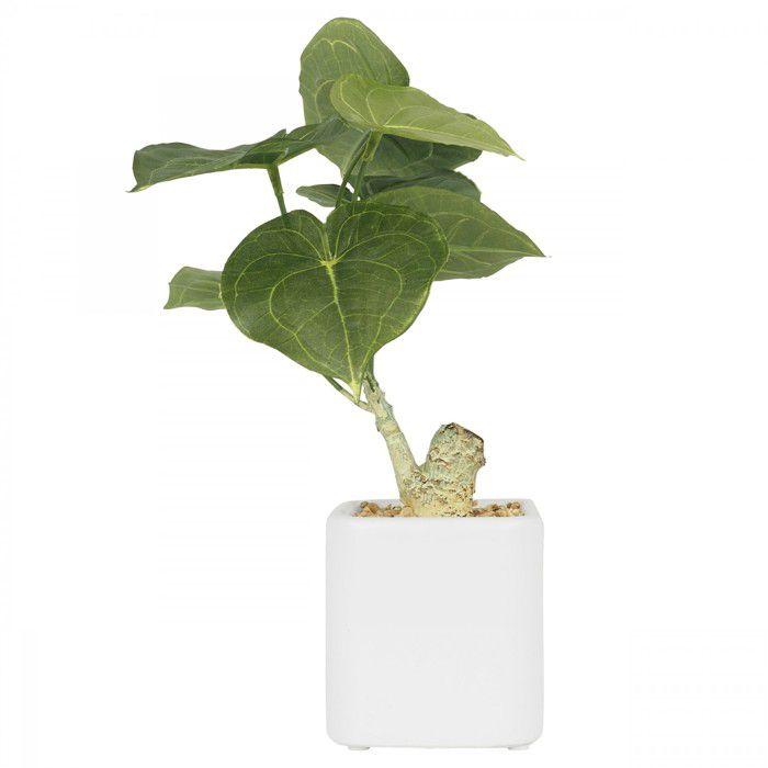 Philodendron artificiel pot céramique carré blanc mat 26 cm, plante verte artificielle, Ligne Déco
