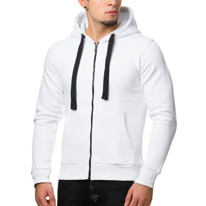 Veste à capuche pour homme Veste de survet 901 blanc