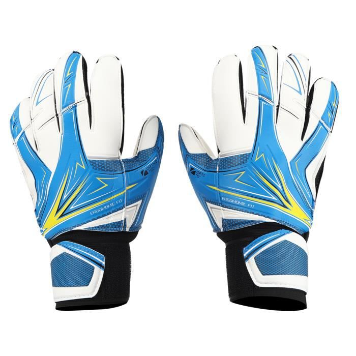 Une paire de gants de gardien de but de football pour enfants en latex anti-dérapant n ° 6 bleu-GUA