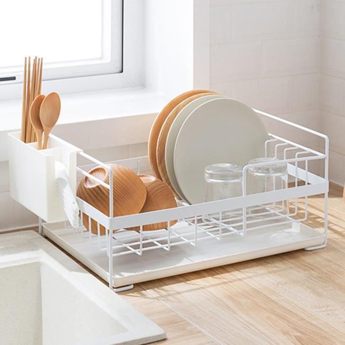 AvanC Égouttoir à Vaisselle Étagère de Cuisine Multifonction Rangement Organisateur blanc