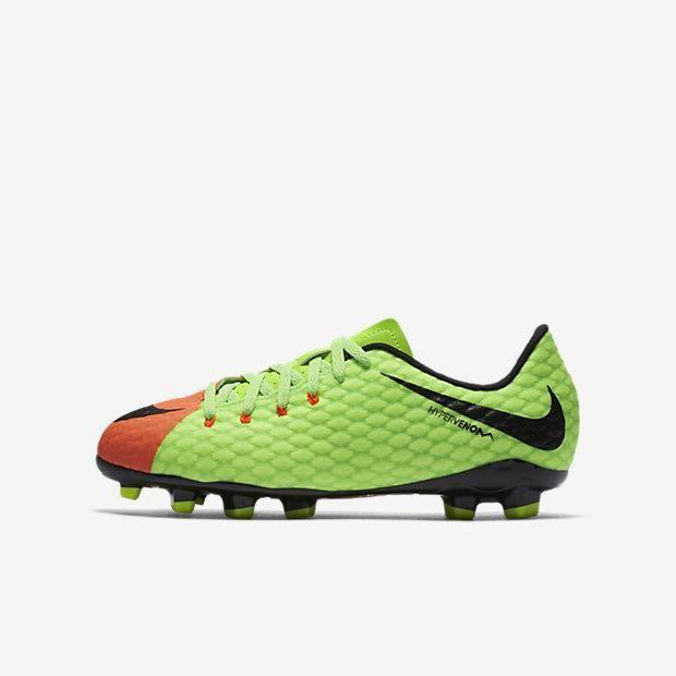 Nike Jr. Hypervenom III FG, Enfant, Mâle, Vert, Orange, Monotone, Synthétiques, Caoutchouc