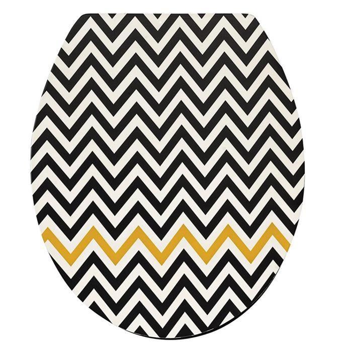 Abattant WC en bois compressé coloris noir et jaune - Dim : 43 x 37 x 6 cm
