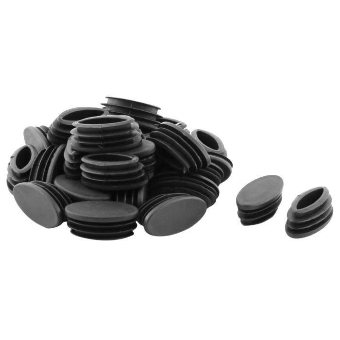 Sourcingmap Table Chaise pieds Tube ovale en plastique Insérez couvercle noir 20 x 40mm 30 pcs